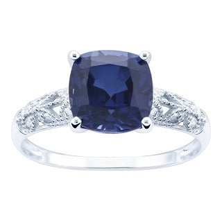 10K White Gold 3.26ct TW Sapphire and Diamond Ring - Blue