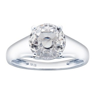 10K White Gold 3 42ct TW White Sapphire Solitaire Ring