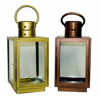 Essential Décor & Beyond 2pc Square Glass Lantern EN19061