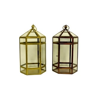 Essential Décor & Beyond 2pc Classic Glass Lantern EN19058