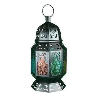 Essential Décor & Beyond Multicolored Metal and Glass Lantern EN112920