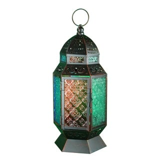 Essential Décor & Beyond Moroccan Multicolored Metal Lantern EN112926