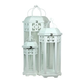 Essential Décor & Beyond 3pc Wooden Lantern EN19107