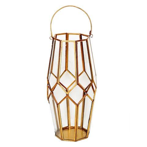 Essential Décor & Beyond Antique Brass and Glass Lantern EN19049