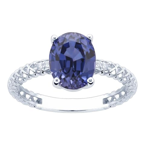 10K White Gold 2.96ct TW Tanzanite and Diamond Ring - Purple