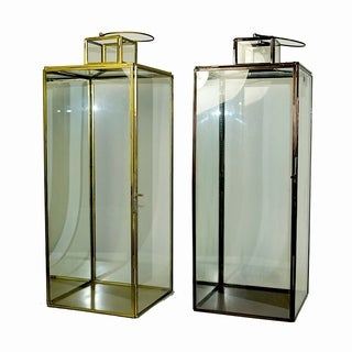 Essential Décor & Beyond 2pc Tall Wide Square Glass Lantern EN19066