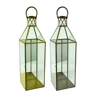 Essential Décor & Beyond 2pc Classic Square Glass Lantern EN19065