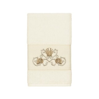 Authentic Hotel and Spa Turkish Cotton Shells Embroidered Cream Hand Towel