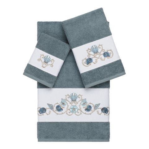 Authentic Hotel and Spa Turkish Cotton Shells Embroidered Teal Blue 3-piece Towel Set