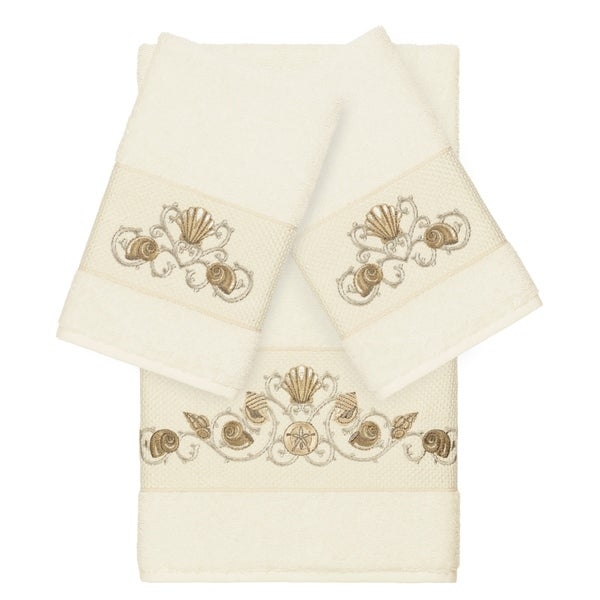 Authentic Hotel and Spa Turkish Cotton Shells Embroidered Cream 3-piece Towel Set