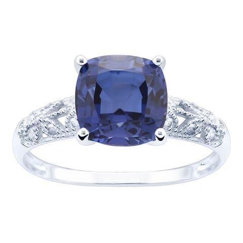 10K White Gold 3.30ct TW Tanzanite and Diamond Ring - Purple