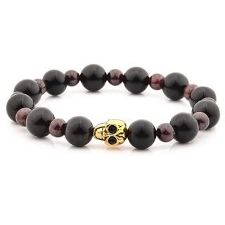 Man-Made Obsidian and Garnet Stone Stainless Steel Skull Bracelet