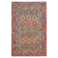Handmade Herat Oriental Afghan Hand-woven Wool Kilim (6'3 x 9'8) (Afghanistan)