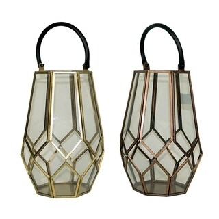 Essential Décor & Beyond 2pc Glass Lantern with Handle EN19057