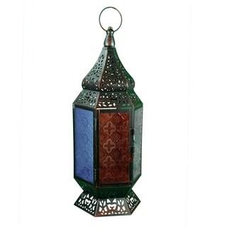 Essential Décor & Beyond Multicolored Metal and Glass Lantern EN112924