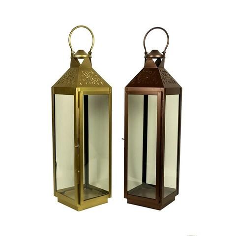 Essential Décor & Beyond 2pc Classic Square Glass Lantern EN19064