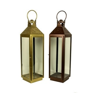 Essential Décor & Beyond 2pc Classic Square Glass Lantern EN19064