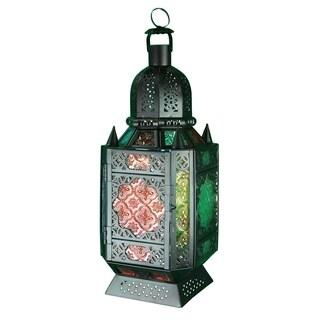 Essential Décor & Beyond Multicolored Metal and Glass Lantern EN112919