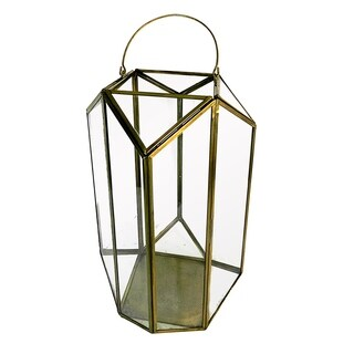 Essential Décor & Beyond Antique Brass and Glass Lantern EN19051