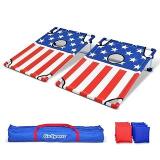 GoSports American Flag Portable PVC Framed Cornhole Game Set with 8 Bean Bags & Travel Carrying Case - American Flag - 3' x 2'