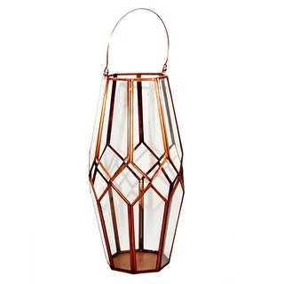 Essential Décor & Beyond Antique Brass Glass Lantern EN19050