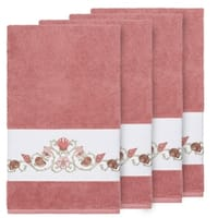 Authentic Hotel and Spa Turkish Cotton Shells Embroidered Tea Rose 4-piece Bath Towel Set