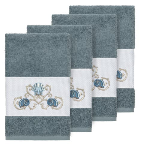Authentic Hotel and Spa Turkish Cotton Shells Embroidered Teal Blue 4-piece Hand Towel Set