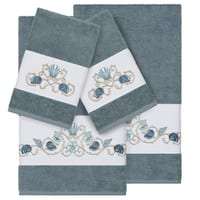 Authentic Hotel and Spa Turkish Cotton Shells Embroidered Teal Blue 4-piece Towel Set