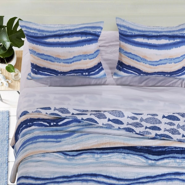Barefoot Bungalow Crystal Cove Coastal Quilted Pillow Sham Set (Set of 2)