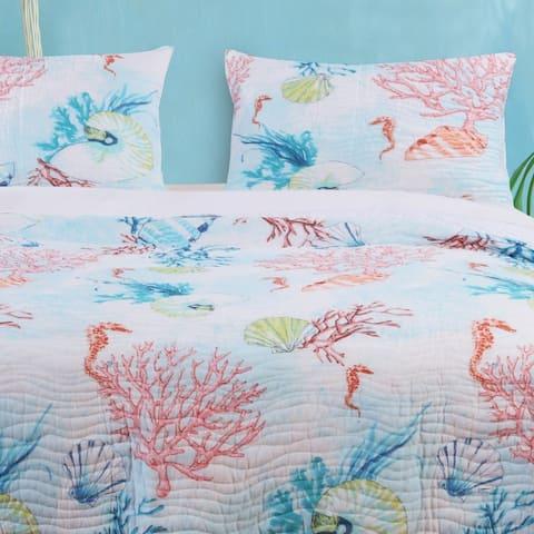 Barefoot Bungalow Sarasota Coastal Quilted Pillow Sham Set (Set of 2)