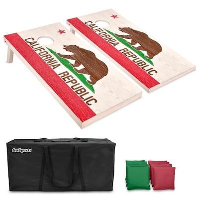 GoSports California Regulation Size Wooden Cornhole Set - California Flag Design with Bags & Case