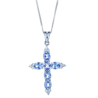 925 Silver Tanzanite and White Sapphire Pendant by Anika and August
