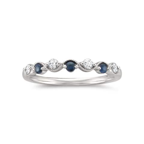 Montebello 14KT White Gold 1/4ct TGW Diamond and Gemstone Wedding Band - Blue
