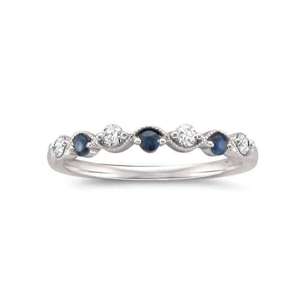 Montebello 14KT White Gold 1/4ct TGW Diamond and Gemstone Wedding Band - Blue. Opens flyout.