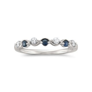 Montebello 14KT White Gold 1/4ct TGW Diamond and Gemstone Wedding Band - Blue (More options available)