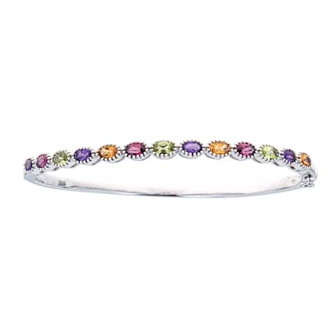 925 Sterling Silver Multi Color Gemstone Bangle by Anika and August