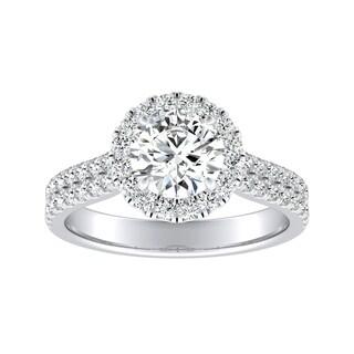 Auriya 14k Gold 1 1/2ct Round Moissanite and 1/2ct TDW Halo Diamond Engagement Ring
