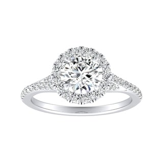 Auriya 1 2ct Moissanite Halo Diamond Engagement Ring 1 3ctw 14K Gold