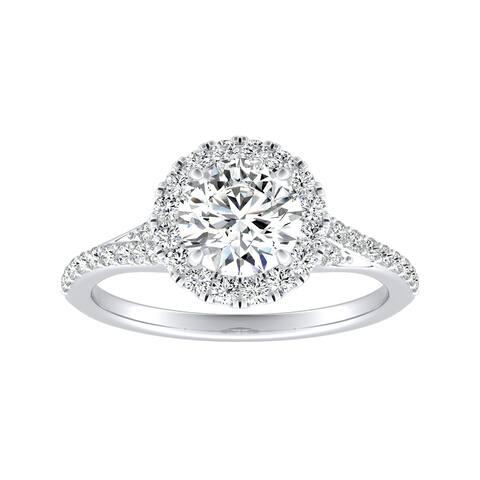 Auriya 14k Gold 2ct Moissanite Halo Diamond Engagement Ring 1/3ctw