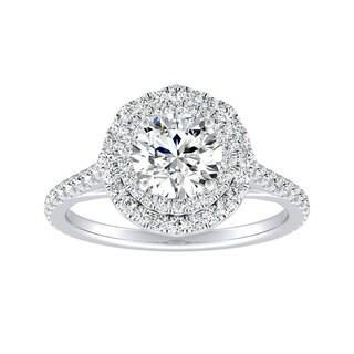 Auriya 14k Gold 1ct Round Moissanite and 1/2ct TDW Halo Diamond Engagement Ring