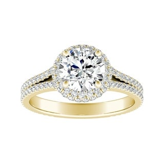Auriya 14k Gold 3ct Round Moissanite and 1/2ct TDW Halo Diamond Engagement Ring
