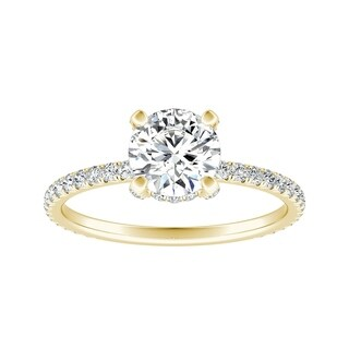 Auriya 14k Gold 2ct Round Moissanite and 1/3ctw Diamond Engagement Ring