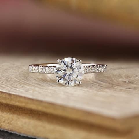 Auriya 14k Gold Classic 1ct Moissanite and Diamond Engagement Ring 1/3ctw