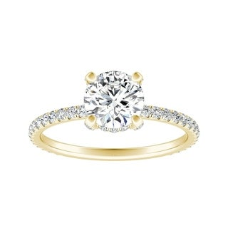 Auriya 14k Gold 1ct Brilliant Round Moissanite and 1/3ct TDW Diamond Engagement Ring (More options available)