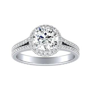 Auriya 14k Gold 3/4ct Round Moissanite and 1/2ct TDW Halo Diamond Engagement Ring