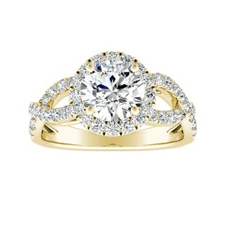 Auriya 14k Gold Infinity 2 1/2ct Round Moissanite and 5/8ct TDW Halo Diamond Engagement Ring