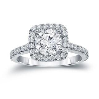 Auriya 14k Gold 1ct Round Moissanite and 2/5ctw Diamond Halo Engagement Ring