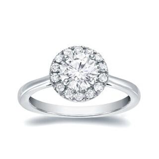 Auriya 14k Gold 3/4ct Round Moissanite and 1/5ct TDW Halo Diamond Engagement Ring