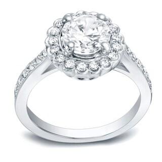 Auriya 14k Gold 1ct Round Moissanite and 1/3ct TDW Halo Diamond Engagement Ring