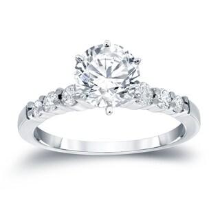 Auriya 14k Gold 2ct Round Moissanite and 1/3ct TDW Diamond Engagement Ring